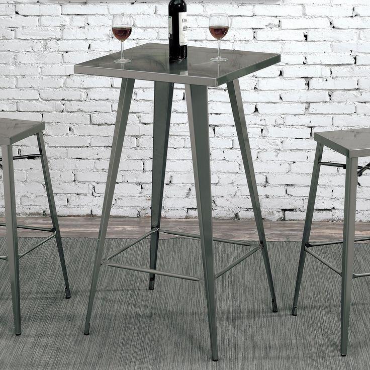 Furniture of America Cordon Industrial Dark Grey Square 42-inch Tall Bar Table (Dark Grey), Silver
