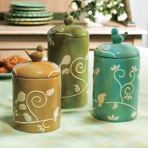 3 Bird Canisters Kitchen Decor