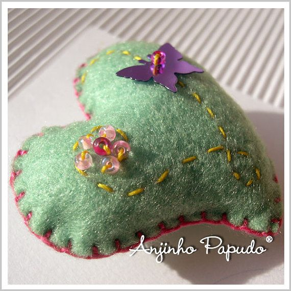 Valentine Green Heart Brooch with Butterfly by anjinhopapudoshop.