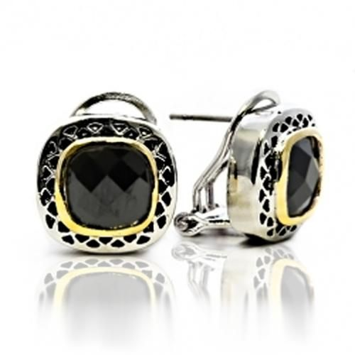 Gold Plated Square Onyx CZ Omega Clip Earrings