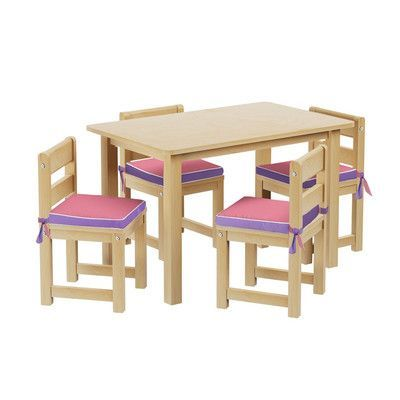 Maxtrix Kids Kids 5 Piece Rectangle Table and Chair Set with Seat Pad Seat Pad Color: Purple/Pink, Finish: Natural