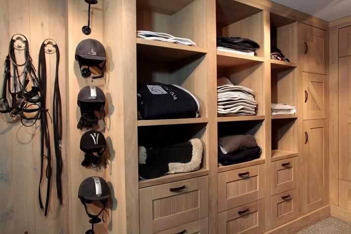 Tack room organization for saddles, helmets, saddle pads, muck/riding boots, etc.