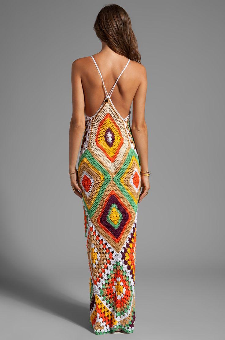 Indah Syra Crochet Maxi Dress in Gold Mix