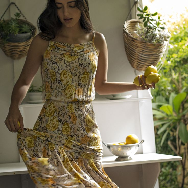 Boho Foral Dress. Lemon Rose Print... So feminine! On sale at Tigani Lux