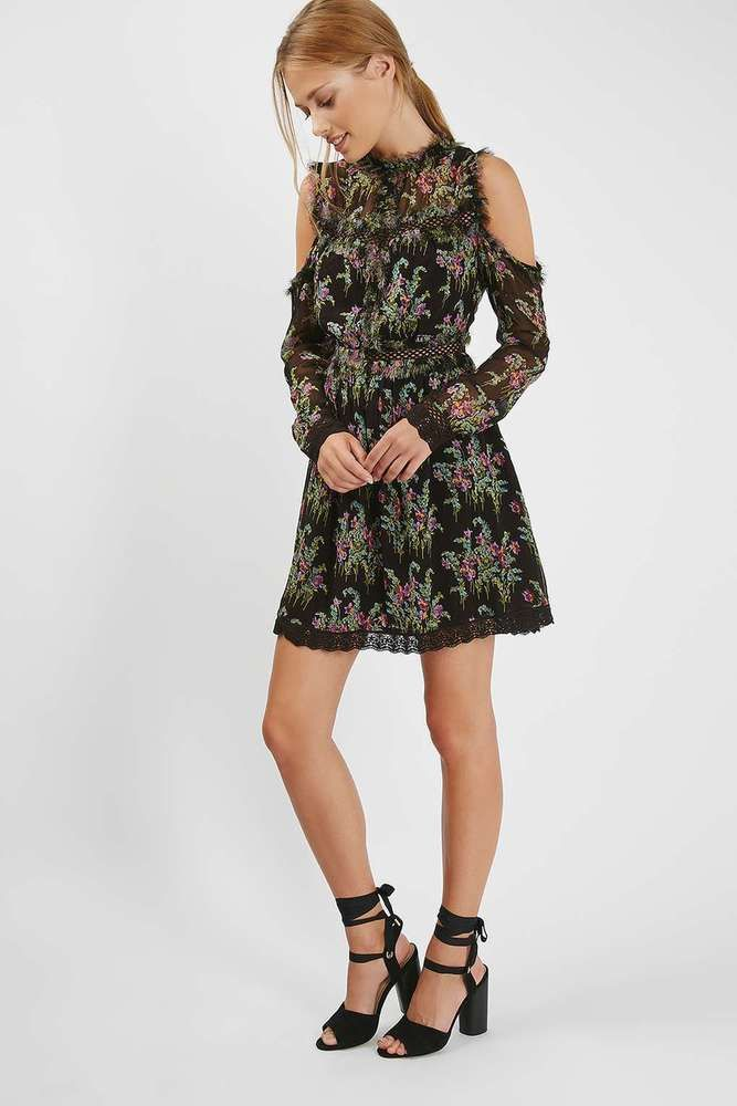 NEW TOPSHOP COLD SHOULDER FLORAL MINI DRESS 6 to 16 rrp £55