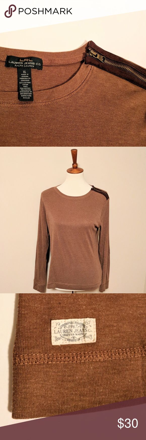 NEW!  Ralph Lauren Long Sleeve with Suede Elbow XL Ralph Lauren light brown long sleeve shirt with dark brown suede elbows and shoulder zipper.  Well cared for and in excellent condition.  - XL size - True RL fitting - Suede elbows - zipper closure at shoulder - Strong stitching with RL logo on front at hemline Ralph Lauren Tops Blouses