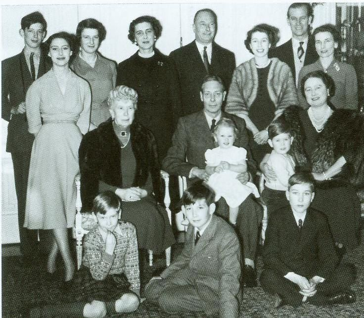 The Duke of Kent, Princess Margaret, Princess Alexandra of Kent,Princess Marina Duchess of Kent, the Duke of Gloucester, Princess Elizabeth, the Duke of Edinburgh, the Duchess of Gloucester, Queen Mary, King george VI with Princess Anne, Queen Elizabeth with Prince Charles, Prince Richard of Gloucester, Prince Michael of Kent, Prince William of Gloucester- 1951