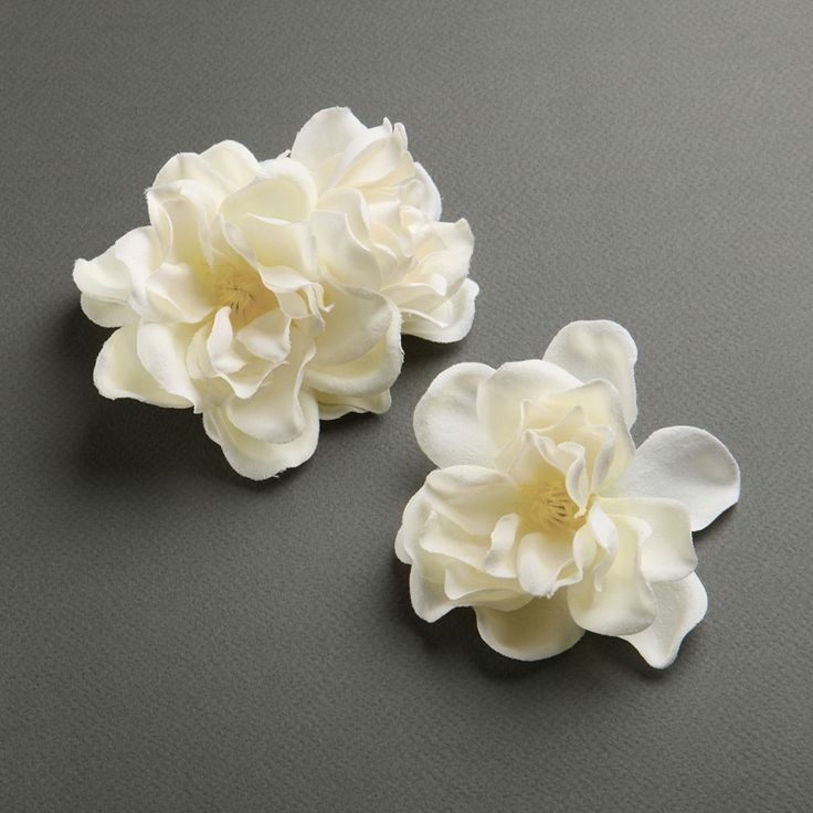 Ivory Silk Gardenia Trio Flower Hair Clips for Brides - By Mariell