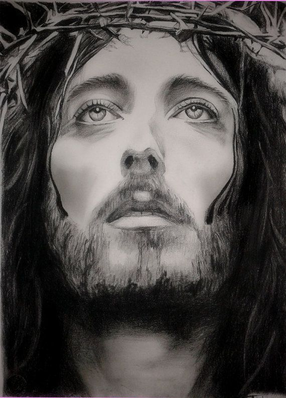Jesus of Nazareth Drawing custom Jesus Christ charcoal Portrait Christian Art