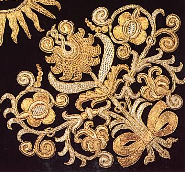 Detail of Chalice Veil, embroidered by Scholastica An der Almend, 1696, in Beromünster, Switzerland.