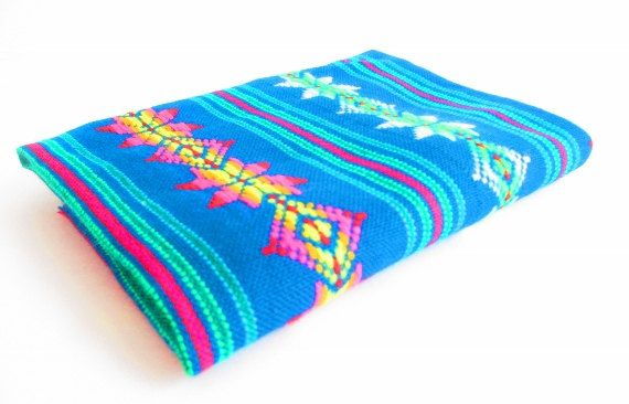 NEW Mexican Fabric, aztec fabric, tribal fabric by the yard,colorful tribal fabric by the yard, teal blue with tribal details, housware. on Etsy, €6,76