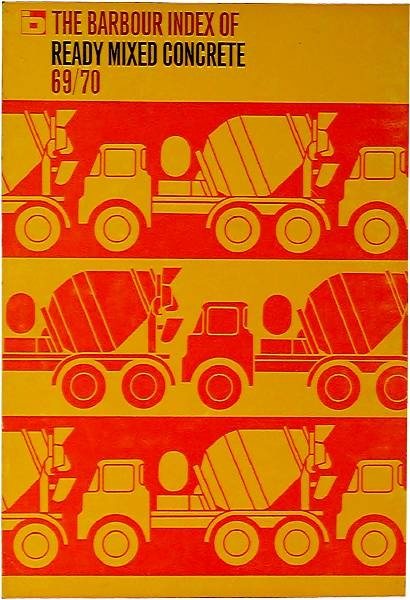 Cover of Index to Readymix Concrete 1969 by ken garland & associates. Gotta love this much effort for this subject!