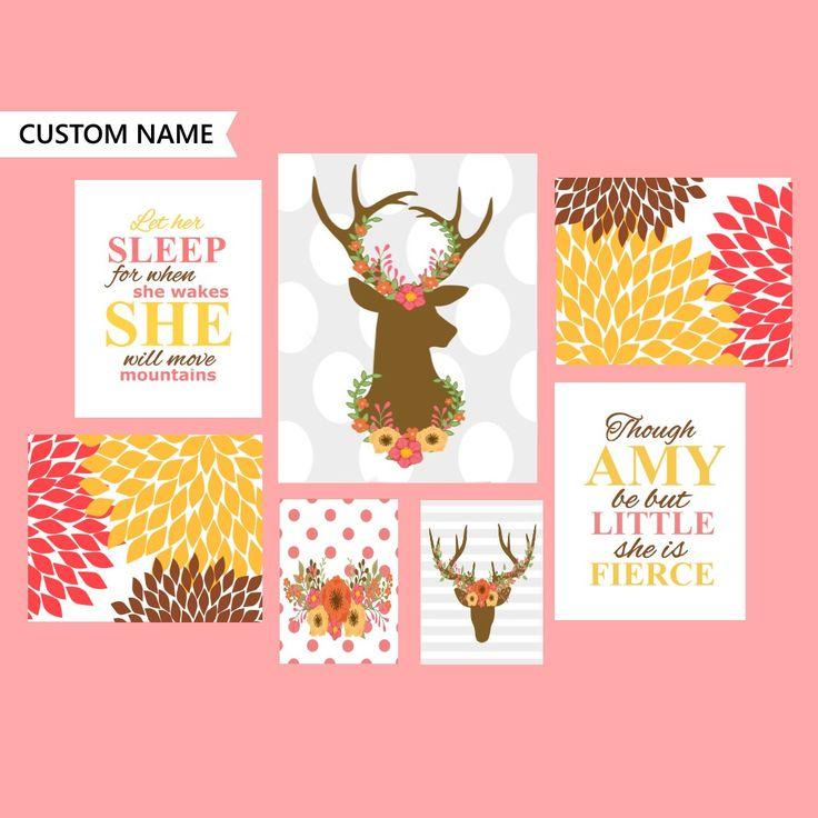 Pink brown nursery decor, nursery deer art, floral nursery decor, 7 set deer art, 7 piece nursery, nursery download, digital deer decor by WatercolorArtHut on Etsy