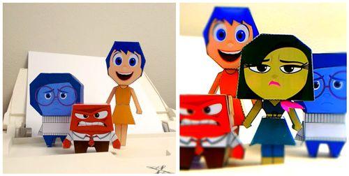 Modelli gratuiti di Gioia, Rabbia, Tristezza e Disgusto: costruisci con la carta i personaggi del film!