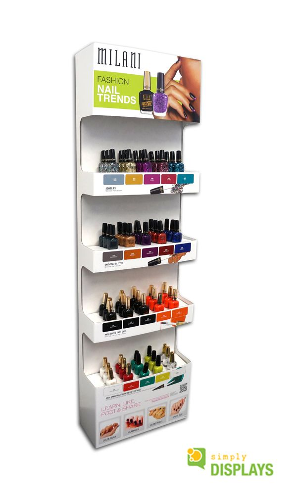 Cosmetic Displays, compact corrugated freestand for nail polish