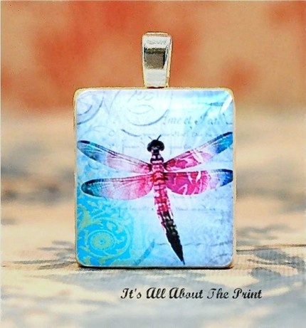 Dragonfly Pendant. A vari-color stamp onto a colored scrabble tile. Very Pretty.