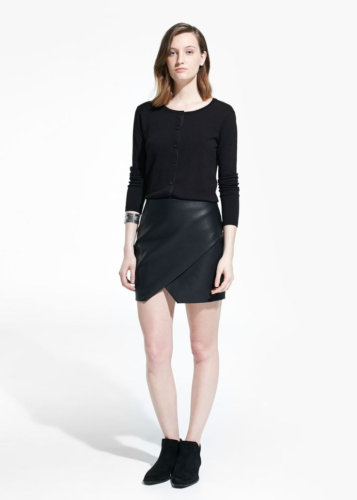 Faux-leather origami skirt, $50 | MANGO