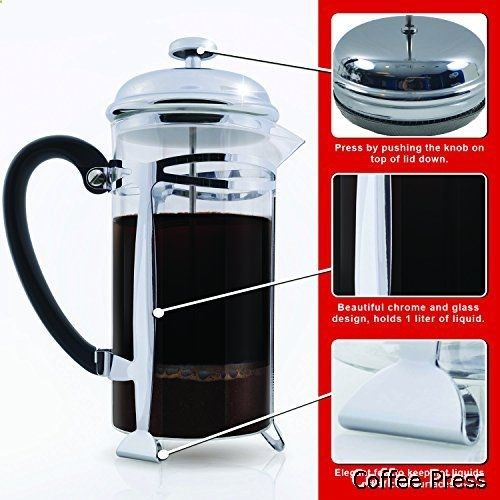Coffee Press - Best Stainless Steel French Press Coffee Maker with Filtration, 1 Liter (34 Ounce)