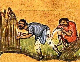 11th cent. manuscript image depicting field laborers. Mount Athos, Greece.