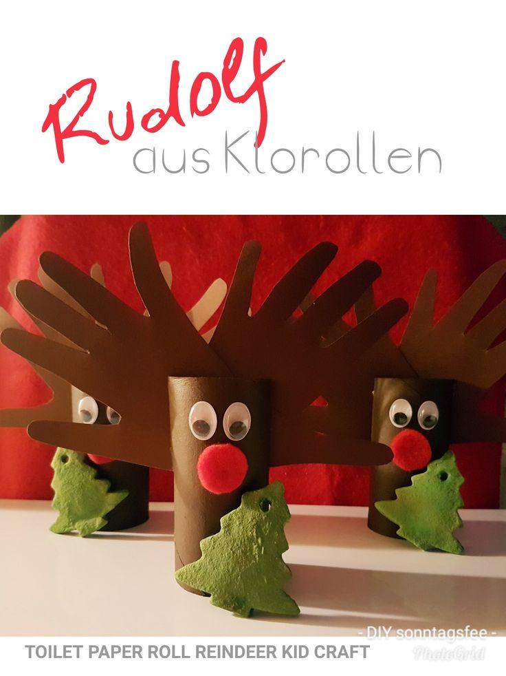Basteln mit Kindern, Rentier, Weihnachten, Handabdruck, Klorolle