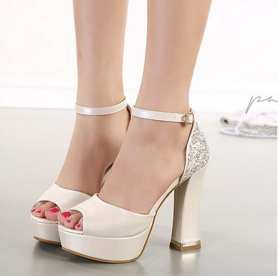 New 2016 Luxury Ivory White Glitter Wedding Shoes Sandals Elegant Bridal Shoes Pumps Platform High Thick Heels Size 35 - 39 Online with $37.59/Pair on Baihe518's Store | DHgate.com