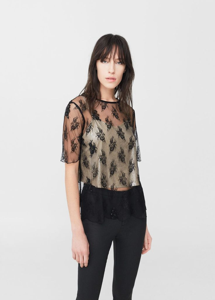 Embroidered tulle blouse -  Woman | MANGO South Africa