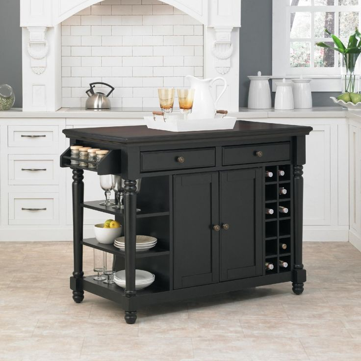 Kitchen Island, Black Portable Kitchen Island With Drawers And Cabinet Also  Wine Racks: The