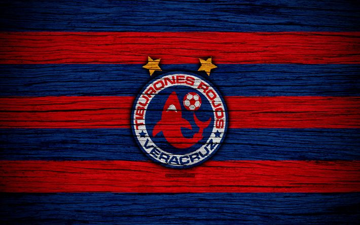 Download wallpapers Veracruz FC, 4k, Liga MX, football, Primera Division, soccer, Mexico, Tiburones Rojos de Veracruz, wooden texture, football club, FC Veracruz