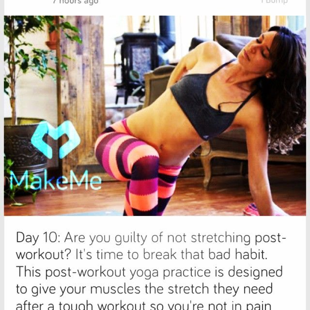 #FITFAM Are you guilty of not stretching post-workout? It's time to break that bad habit. This post-workout #yoga practice is designed to give your #muscles the stretch they need after a tough #workout so you're not in pain the next day. Learn more by visiting Make.Me.