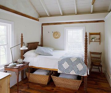 Classic Country Rooms: From tried-and-true blue-and-white palettes to vintage collections and creative repurposing, country decorating never goes out of style. Choose from a variety of lived-in, cozy looks and add comfort to every room of your house. By Andrea Cooley. Country Catchalls:   Wicker baskets are the storage item of choice in a country home. Two baskets under the antique spindle bed hold extra linens and pillows, so you're always ready for guests. A classic blue-and-white quilt…