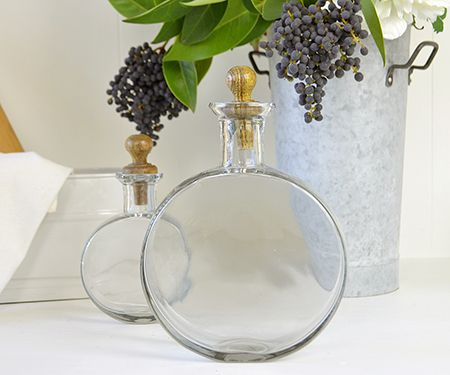 Orlando glass flasks with turned wood stoppers
