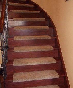 Stairs Carpet On Tread And Wood Riser Staircase