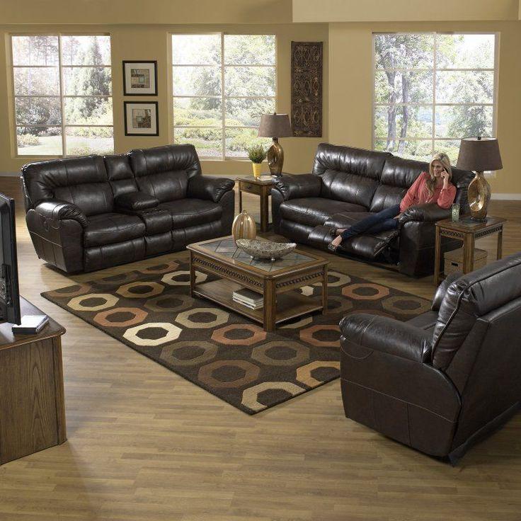 Catnapper Nolan Leather Reclining Sofa Set - Godiva - CAT300