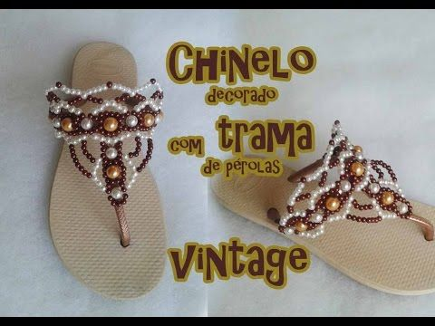 Chinelo decorado com trama de pérolas Vintage - YouTube