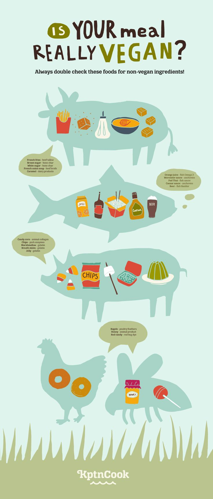 Is your meal really vegan? Food #infographic talking about suprise vegan foods. What is vegan?