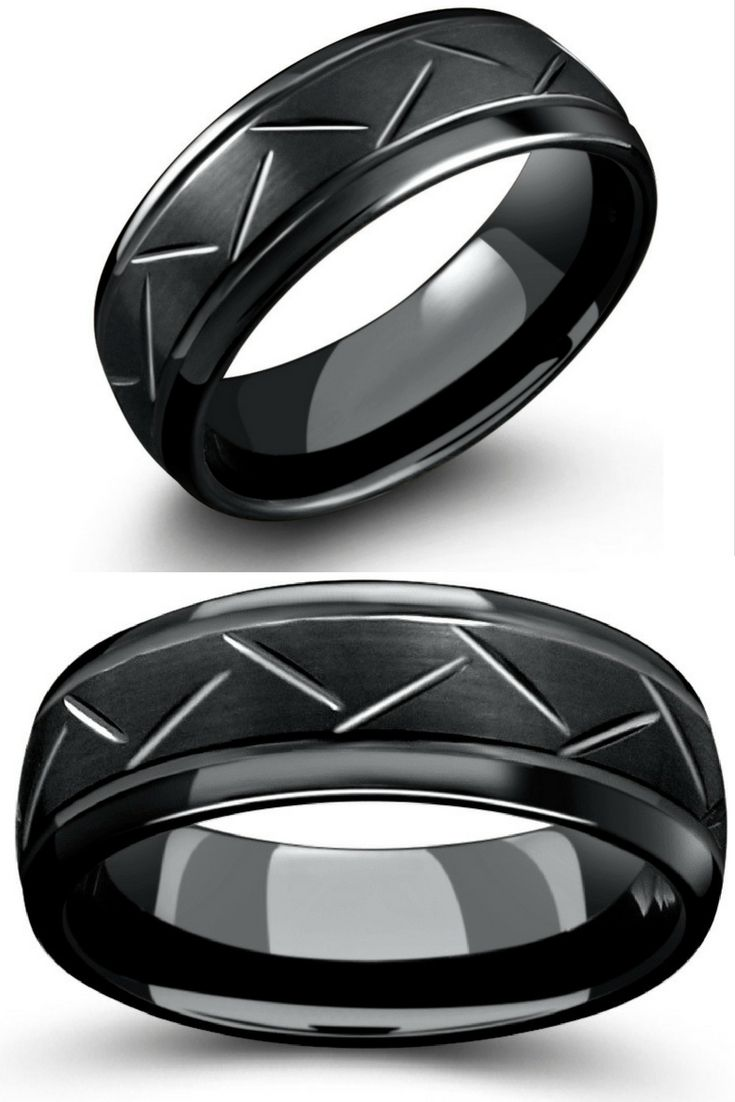 Mens all black tungsten wedding ring with brushed center, carved channels and polished edges. This makes the perfect modern mens wedding band.