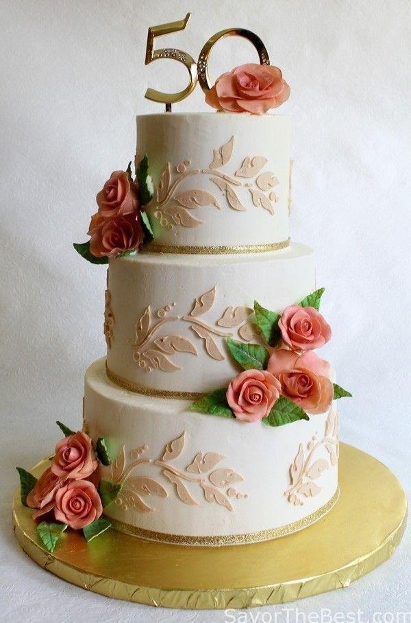 50th Anniversary Cake Design