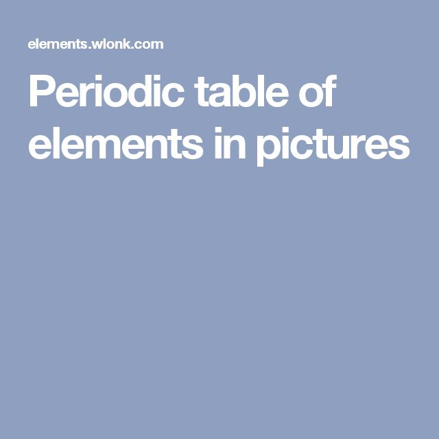 Periodic table of elements in pictures