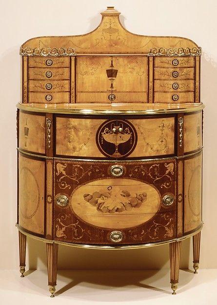 Secretary Date: ca. 1800–1820 Culture: British or Irish Medium: Pine carcase, veneered with satinwood, sycamore and rosewood; mahogany drawer linings; gilt-bronze mounts