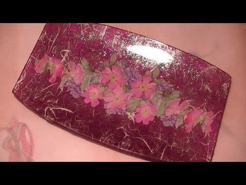 Tutorial: Decoupage su piatto di vetro con finitura glitter e carta di r...