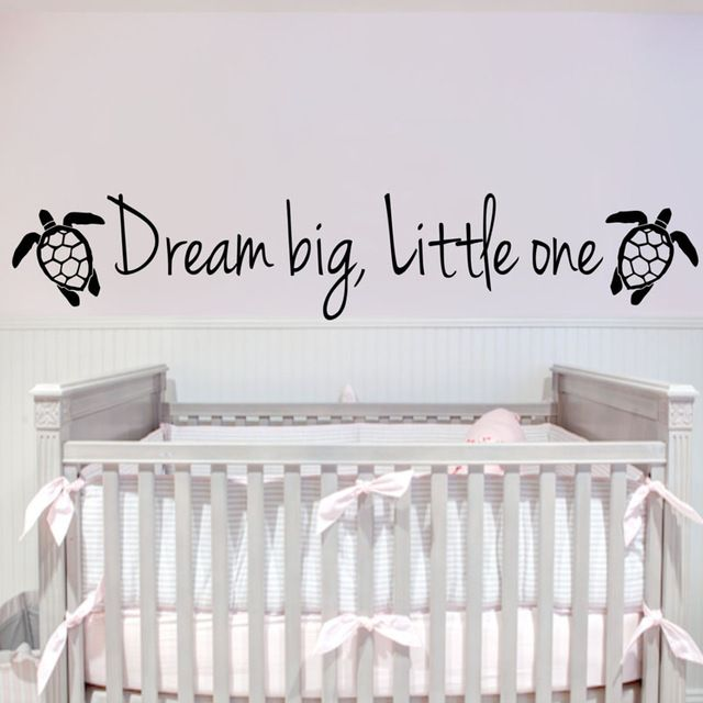 Dream Big Little One Tortoises Wall Stickers For Kids Rooms Home Decor Animals Wall Decals DIY