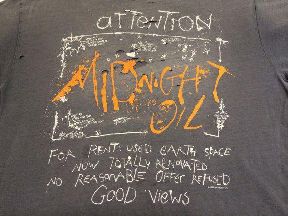 MIDNIGHT OIL Shirt 1988/ RARE Original Vintage by sweetVTGtshirt