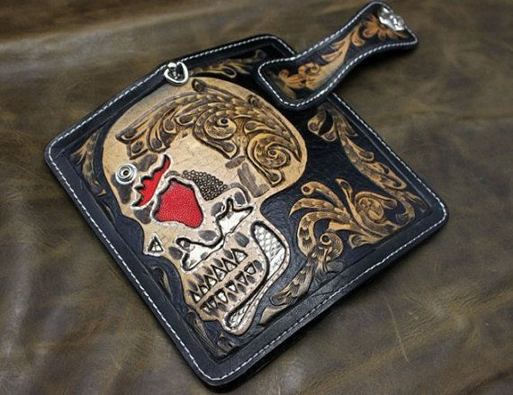 Handmade Leather carving skull long leather wallet mens wallet leather wallet men's Python skin pearl fish skin