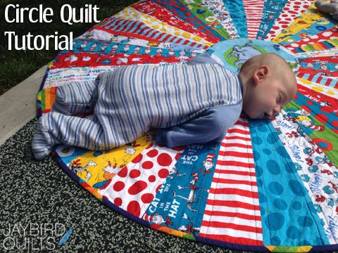 "Circle Quilt Tutorial | Jaybird Quilts - Love the pattern.  We carry this ruler in our store at www.QuiltCornerOnline.com - along with some adorable baby fabric that has been screaming ""quilt me!""  I am going to have to make a circle quilt .... ADORABLE!"