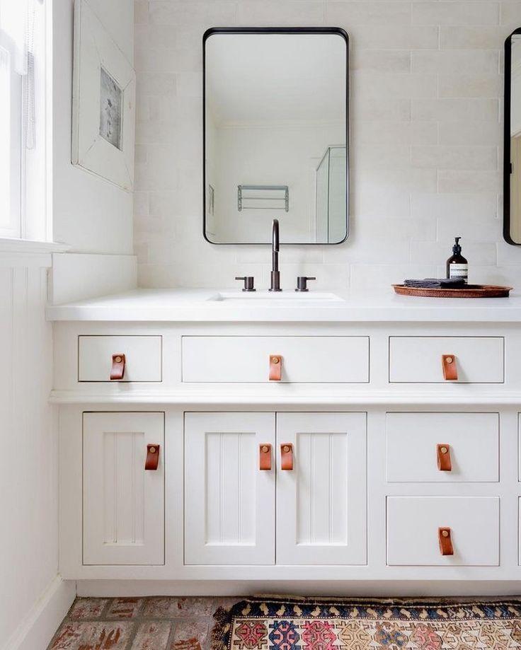 White bathroom vanity with leather pulls bath cheap - Bathroom vanity knobs and handles ...
