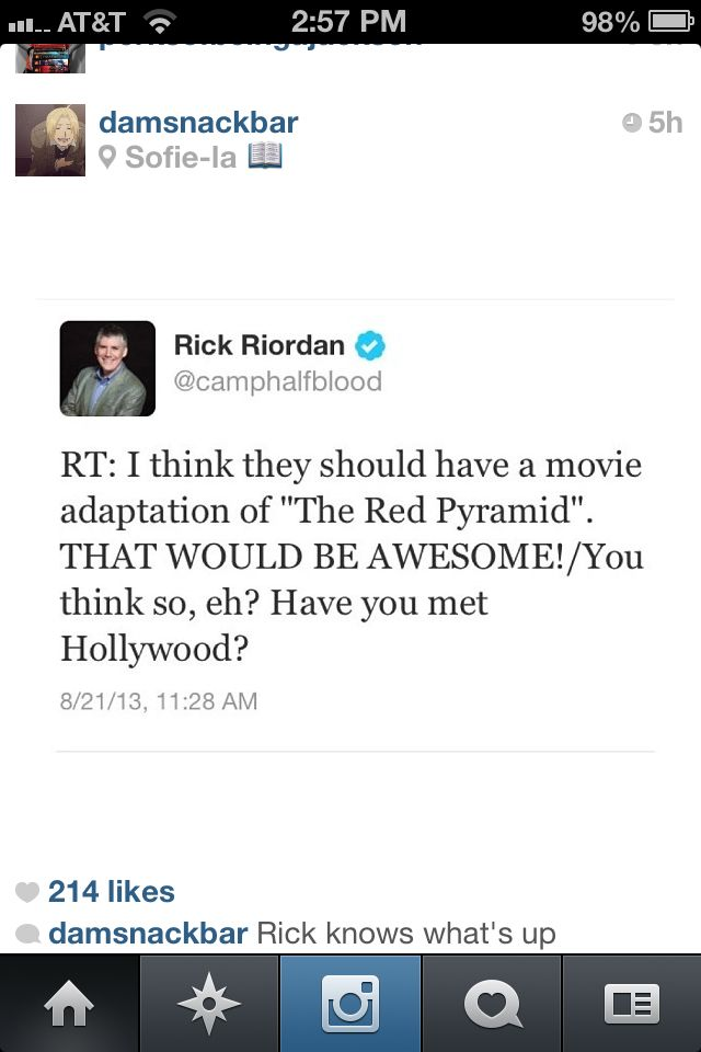 I don't think we should have a red pyramid movie if it is anything like Percy Jackson