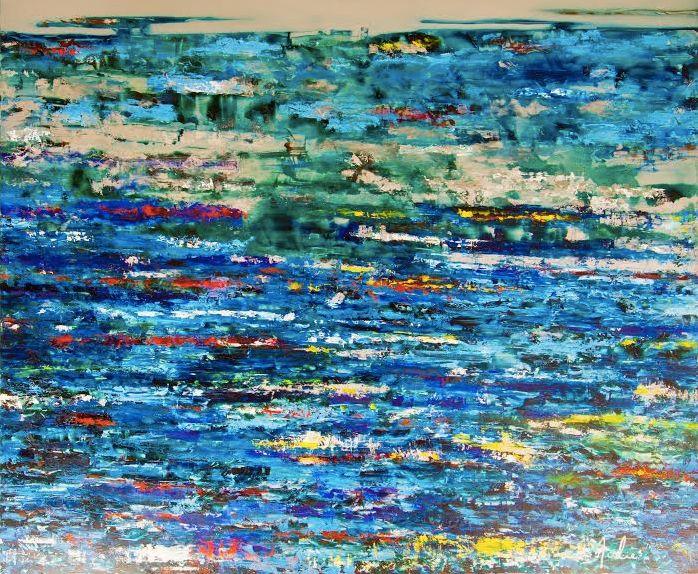 Artist : Julie Sasson / Title : Serie de Olas, Intensidad / Dimensions : 130 x 150 cms / Technique : Mixed on Aluminium / Price: MXN $50,000 / Year : 2015 / Status : Sold
