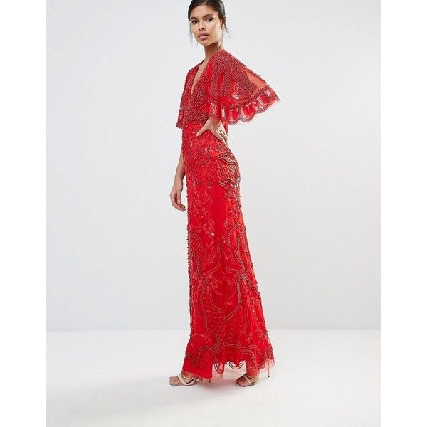 A Star Is Born Embellished Kimono Sleeve Maxi Dress (€425) ❤ liked on Polyvore featuring dresses, red, embellished maxi dress, beaded maxi dress, red dress, kimono sleeve dress and sequin dresses