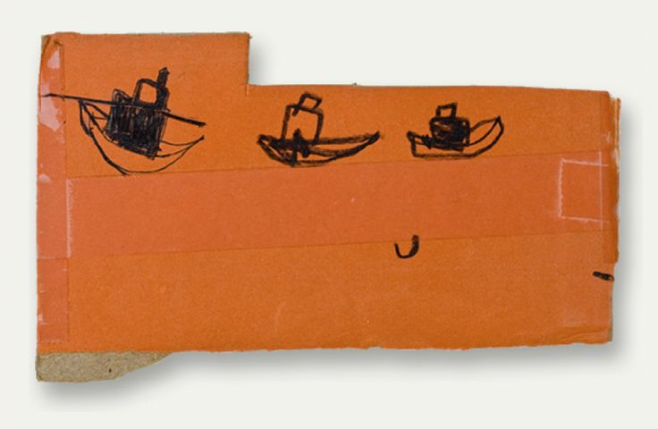 W. Tucker three boats, 2010 charcoal, ink, tape on...