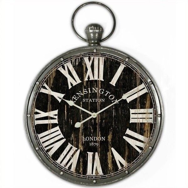 Yosemite Pendant Iron Skip Movement Wall Clock ($77) ❤ Liked On Polyvore  Featuring Home